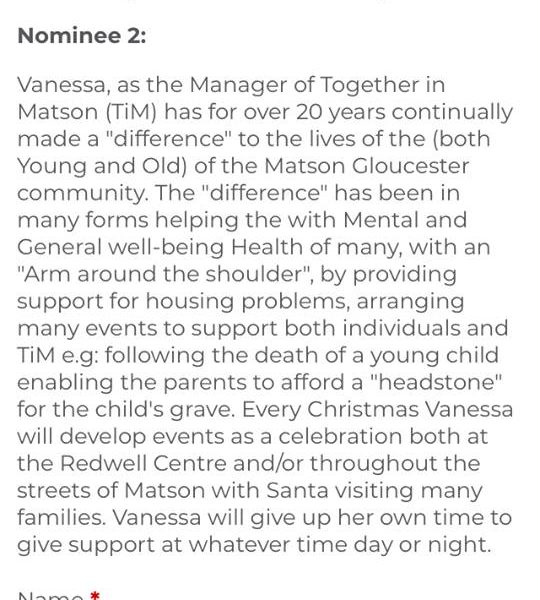 Please vote for Vanessa Worrall